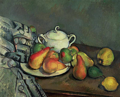 Lemon Painting - Still Life With Sugar Basin And Fruit by Paul Cezanne