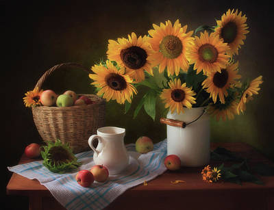 Sunflower Photograph - Still Life With Sunflowers by ??????? ????????