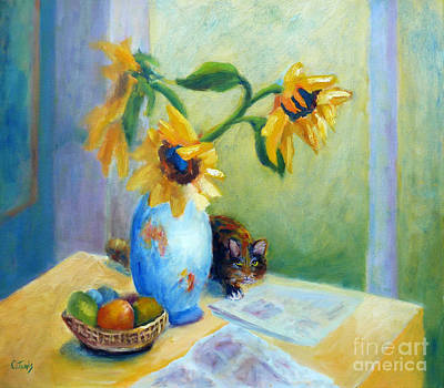 Painting - Still Life With Sunflowers And Cat by Carolyn Jarvis