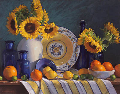 Still Life With Sunflowers And Citrus Original