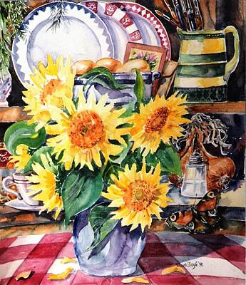 Art Print featuring the painting Still Life With Sunflowers  by Trudi Doyle