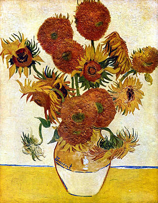 Florals Digital Art - Still Life With Sunflowers by Vincent Van Gogh