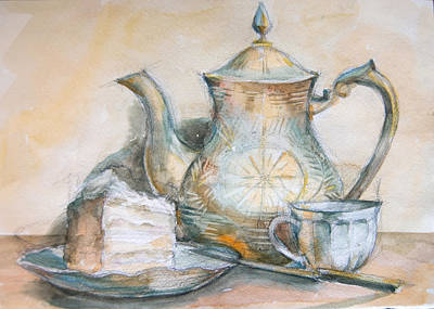 Still Life Drawings - Still Life With Tea And Piece Of Cake by Olesya Tarasova