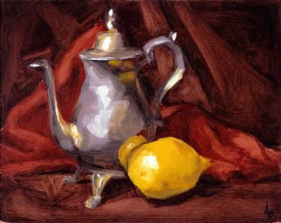 Silver Tea Pot Painting - Still Life With Tea Pot by Alison Schmidt Carson
