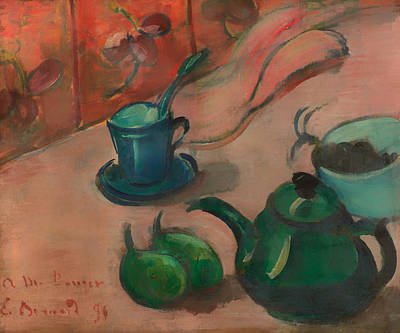 Teapot Painting - Still Life With Teapot Cup And Fruit by Mountain Dreams