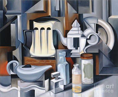 Perfume Bottles Painting - Still Life With Teapots by Catherine Abel