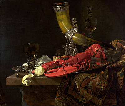 Still Life With The Drinking-horn Of The St. Sebastian Archers Guild, Lobster And Glasses, C.1653 Art Print by Willem Kalf