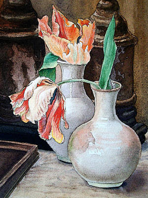 Tulips Watercolor Wall Art - Painting - Still Life With Tulips by Irina Sztukowski