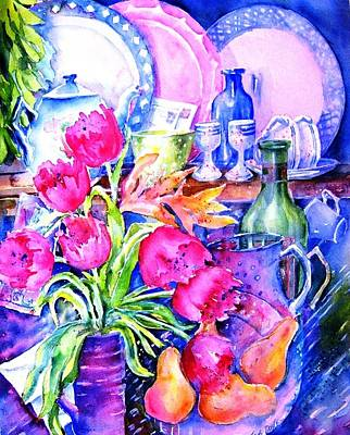 Still Life With Tulips  Art Print by Trudi Doyle