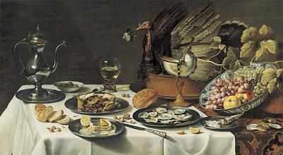 Glass Of Wine Painting - Still Life With Turkey Pie by Pieter Claesz