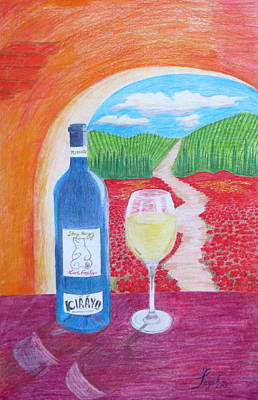 Drawing - Tuscan Wine by Artistic Indian Nurse