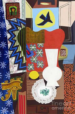 Lemon Mixed Media - Still Life With Vase And Lemon by Phillip Castaldi