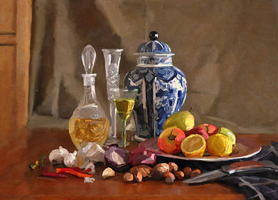 Holland Painting - Still Life With Vase Els And Jenever by Nop Briex