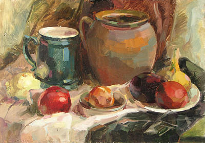 Tableware Painting - Still Life With Vegetables by Juliya Zhukova