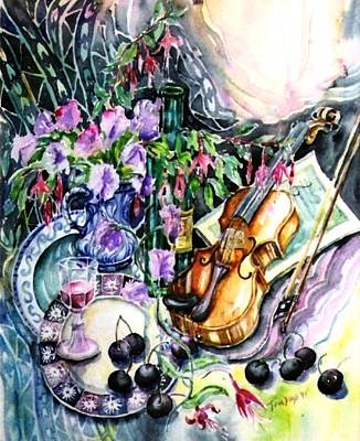 Glass Of Wine Painting - Still Life With Violin And Cherries by Trudi Doyle