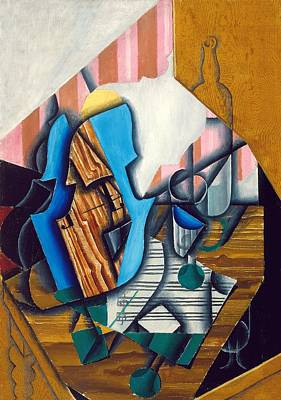 Music Score Photograph - Still Life With Violin And Music Sheet, 1914 Oil On Paper Colle On Canvas by Juan Gris