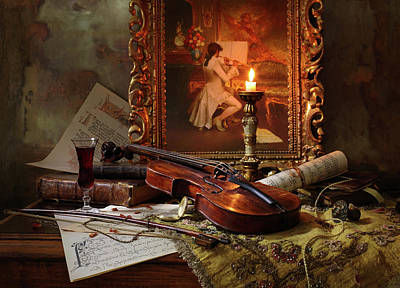 Candles Wall Art - Photograph - Still Life With Violin And Painting by Andrey Morozov