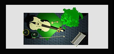 Violin Digital Art - Still Life With Violin And Park Bench by Andrei SKY
