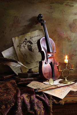 Candles Wall Art - Photograph - Still Life With Violin by Andrey Morozov