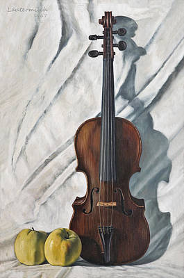 Painting - Still Life With Violin by John Lautermilch
