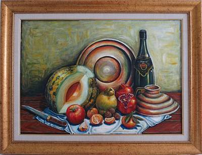 Naturmort Painting - Still Life With Water Melon by Kazim C