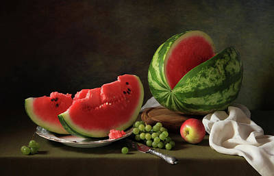 Watermelon Photograph - Still Life With Watermelon And Grapes by ??????????? ??????????