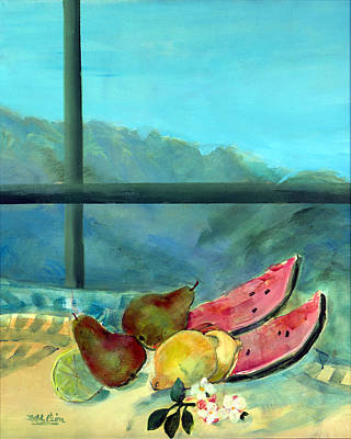 Window Sill Photograph - Still Life With Watermelon Oil & Acrylic On Canvas by Marisa Leon