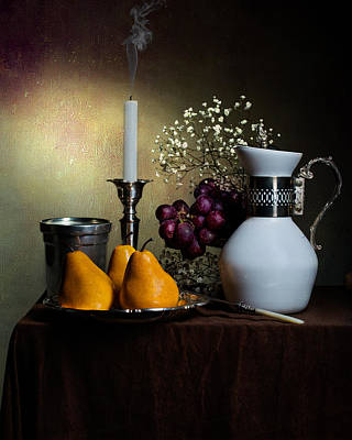 Still Life With White Jar-yellow Pears-snuffed Candle And Goblet Art Print by Levin Rodriguez