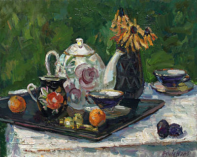 Roaring Red - Still life with white teapot by Juliya Zhukova