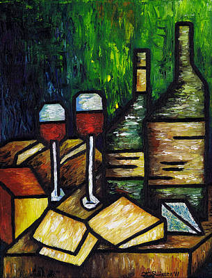 Still Life With Wine And Cheese Art Print