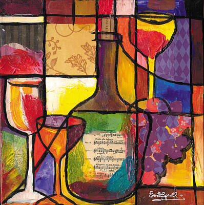Jacob Lawrence Mixed Media - Still Life With Wine And Fruit by Everett Spruill