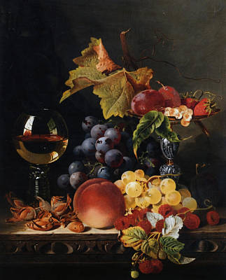 Still Life With Wine Glass And Silver Tazz Art Print