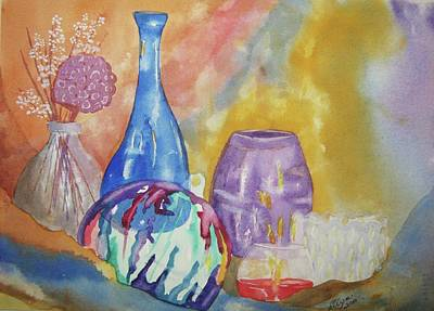 Wine Reflection Art Painting - Still Life With Witching Ball by Ellen Levinson