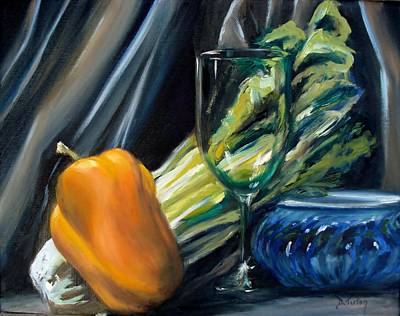 Still Life With Yellow Pepper Bok Choy Glass And Dish Print by Donna Tuten