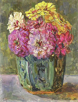 Still Life With Zinnias In A Ginger Jar, Floris Verster Art Print by Litz Collection