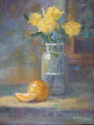 Painting - Still Life. Yellow Roses by Bart DeCeglie