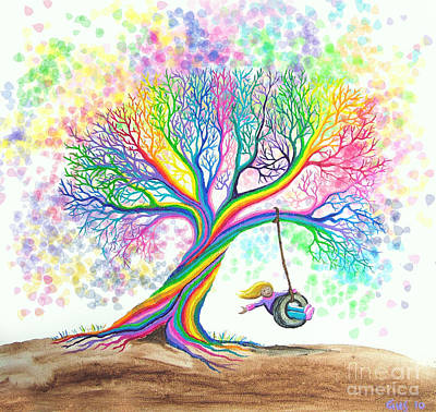 Rainbow Colors Painting - Still More Rainbow Tree Dreams by Nick Gustafson