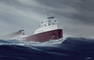 Great Lakes Ship Painting - Still Remembered by Captain Bud Robinson