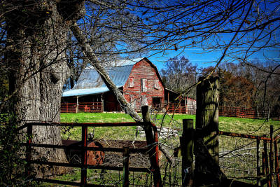 Photograph - Still Useful Rustic Red Barn Art Oconee County by Reid Callaway