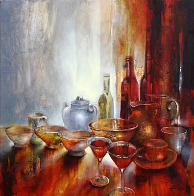 Painting - Stillleben Mit Grauer Teekanne by Annette Schmucker