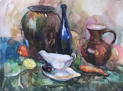 Painting - Stilllife With A Dark Blue Bottle by Juliya Zhukova