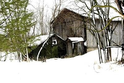 Barns In Snow Photograph - Stillness In Farm Time by Julie Ketchman