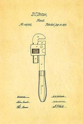 Brickie Photograph - Stillson Wrench Patent Art 1870 by Ian Monk