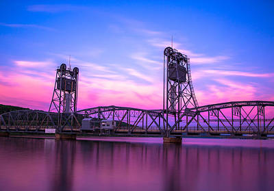 Sunset Landscape Wall Art - Photograph - Stillwater Lift Bridge by Adam Mateo Fierro