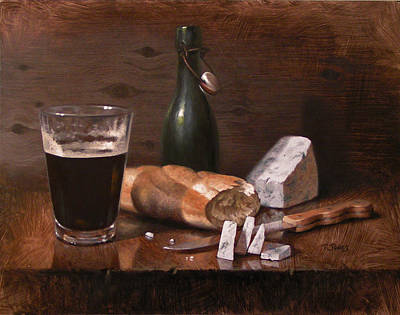 Bread And Cheese Painting - Stilton And Porter by Timothy Jones