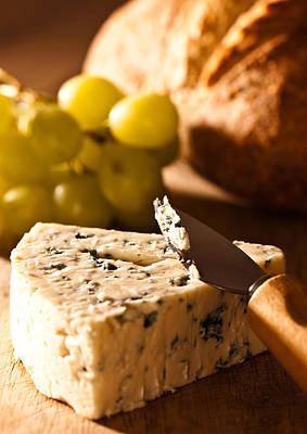 Stilton Cheese With Grapes Art Print by Amanda Elwell