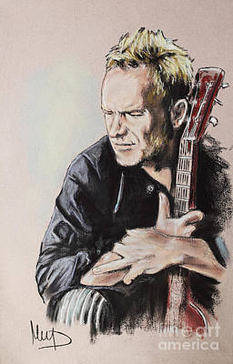 Bassist Drawing - Sting by Melanie D
