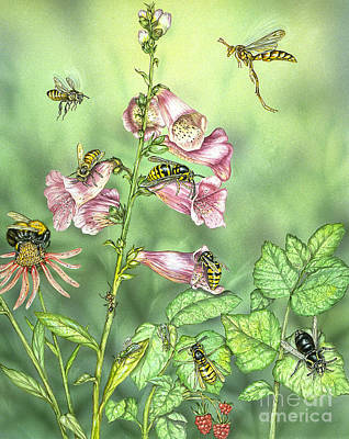 Stinging Insects In Garden Scene Art Print by Laurie O'Keefe