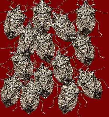 Stink Bug Digital Art - Stink Bugs Bedazzled by R  Allen Swezey