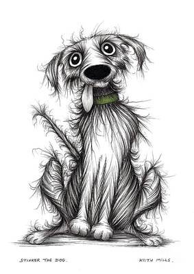 Mutt Drawing - Stinker The Dog by Keith Mills